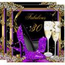 fabulous 30 purple gold black birthday party invitation