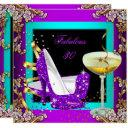 fabulous 30 purple teal glitter gold party invitations