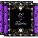 fabulous 40 damask floral purple black 40th party invitation