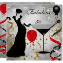 fabulous 50 50th birthday party deco lady red invitations