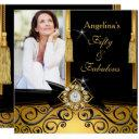 fabulous 50 gold black damask photo birthday party invitations