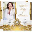 fabulous 50 gold white damask photo birthday party invitation
