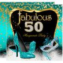 fabulous 50 masquerade party teal gold invitations