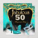 fabulous 50 masquerade party teal gold invitation