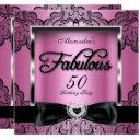 fabulous 50 party pink damask black lace invitation