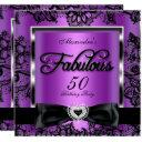 fabulous 50 party purple damask black lace invitations