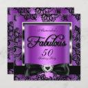 fabulous 50 party purple damask black lace invitation