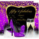 fabulous 50 party purple magenta gold champagne invitations