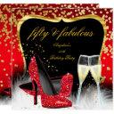 fabulous 50 party red gold champagne glitter heels invitations