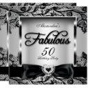 fabulous 50 party silver gray damask black lace 2 invitation