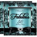 fabulous 50 party teal blue damask black lace invitation
