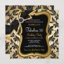 fabulous 50 pearl gold bow black damask invite