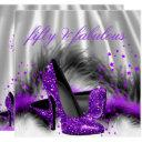 fabulous 50 purple silver high heel birthday party invitation
