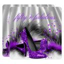 fabulous 50 purple silver high heel birthday party invitations