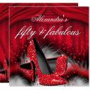 fabulous 50 red high heels feathers birthday invitations