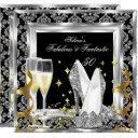 fabulous 50 silver damask black birthday party invitations