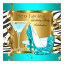 fabulous 50 teal glitter high heels zebra cocktail invitation