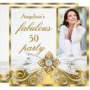 fabulous 50 white gold faux diamond photo birthday invitations