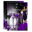 fabulous 60 60th birthday purple roses martini invitations
