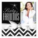 fabulous 60 photo chevron black white birthday invitation