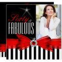 fabulous 60 red black white stripe birthday party invitation