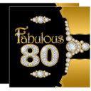 fabulous 80 80th birthday gold black diamond invitation