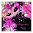fabulous birthday hot pink gold masquerade party invitation