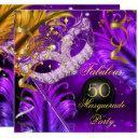 fabulous birthday purple gold masquerade party 2 invitation
