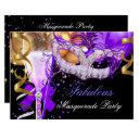 fabulous purple gold black masquerade party 3 invitations