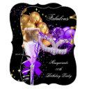 fabulous purple gold black masquerade party 4 invitations