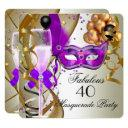 fabulous purple gold cream black masquerade party invitation