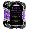 fabulous purple silver black party invitation