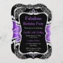 fabulous purple silver black party invitation