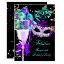 fabulous purple teal black masquerade party invitation