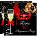 fabulous red gold black masquerade party invitations