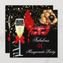 fabulous red gold black masquerade party invitation