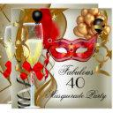 fabulous red gold cream black masquerade party invitation