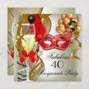 fabulous red gold cream black masquerade party invitation