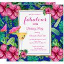 fabulous tropical cocktail floral birthday party invitation