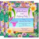 fabulous tropical purple cocktail photo party invitation