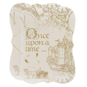 fairy tale theme castle carriage gold glitter invitation
