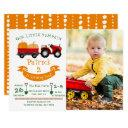 fall autumn pumpkin tractor farm photo birthday invitation