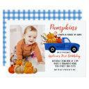 fall blue truck pumpkin birthday with photo invitation