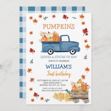 fall boy first little navy blue truck birthday invitation