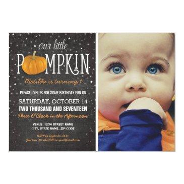 fall little pumpkin photo 1st birthday party invitation