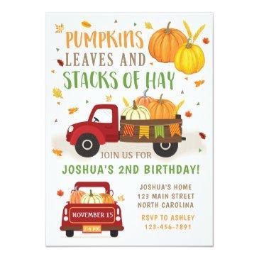 Small Fall Pumpkin Birthday Invitation Boy Front View