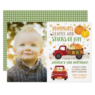 fall pumpkin birthday invitations boy