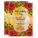 fall watercolor floral 80th birthday party invitation