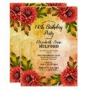 fall watercolor mums floral 60th birthday party invitations