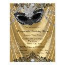 fancy black and gold masquerade party invitation